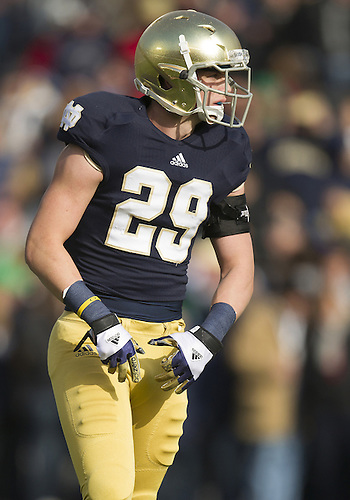 November 03, 2012:  Notre Dame safety Nicky Baratti (29) during NCAA Football game action between the Notre Dame Fighting Irish and the Pittsburgh Panthers at Notre Dame Stadium in South Bend, Indiana.  Notre Dame defeated Pittsburgh 29-26 in three overtimes.
