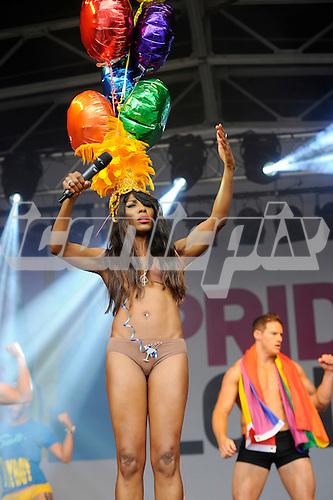 SINITTA - performing live at Pride London in Trafalgar Square London UK - 28 Jun 2014.  Photo credit: Zaine Lewis/IconicPix