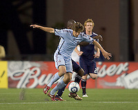 Colorado Rapids midfielder Wells Thompson (15) controls the ball. The Colorado Rapids defeated the New England Revolution, 2-1, at Gillette Stadium on April 24, 2010.