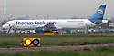 "23/10/19<br /> <br /> File Photo dated 12/07/11 showing a Thomas Cook jet at East Midlands Airport.<br /> <br /> Thomas Cook has collapsed after last-minute negotiations aimed at saving the 178-year-old holiday firm failed.<br /> <br /> The UK Civil Aviation Authority (CAA) said the tour operator had ""ceased trading with immediate effect"".<br /> <br /> It has also triggered the biggest ever peacetime repatriation, aimed at bringing more than 150,000 British holidaymakers home.<br /> <br /> <br /> <br /> All Rights Reserved, F Stop Press Ltd +44 (0)7765 242650 www.fstoppress.com rod@fstoppress.com"