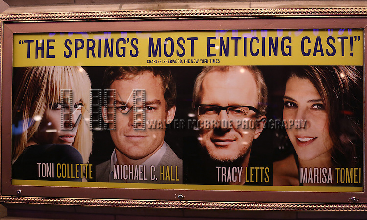 Theatre Marquee for Tracy Letts, Toni Collette, Marisa Tomei and Michael C. Hall during the Broadway Opening Night Performance of 'The Realistic Joneses'  at the Lyceum Theatre on April 6, 2014 in New York City.