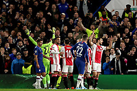 5th November 2019; Stamford Bridge, London, England; UEFA Champions League Football, Chelsea Football Club versus Ajax; Joël Veltman of Ajax reacts as he is shown the red card - Editorial Use