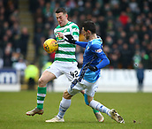 3rd February 2019, McDiarmid Park, Perth, Scotland; Ladbrokes Premiership football, St Johnston versus Celtic;  Scott Tanser of St Johnstone tackles Callum McGregor of Celtic