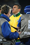 Lucio sings the national anthem before the 2010 FIFA World Cup South Africa Round of Sixteen match between Brazil and Chile at Ellis Park Stadium on June 28, 2010 in Johannesburg, South Africa.