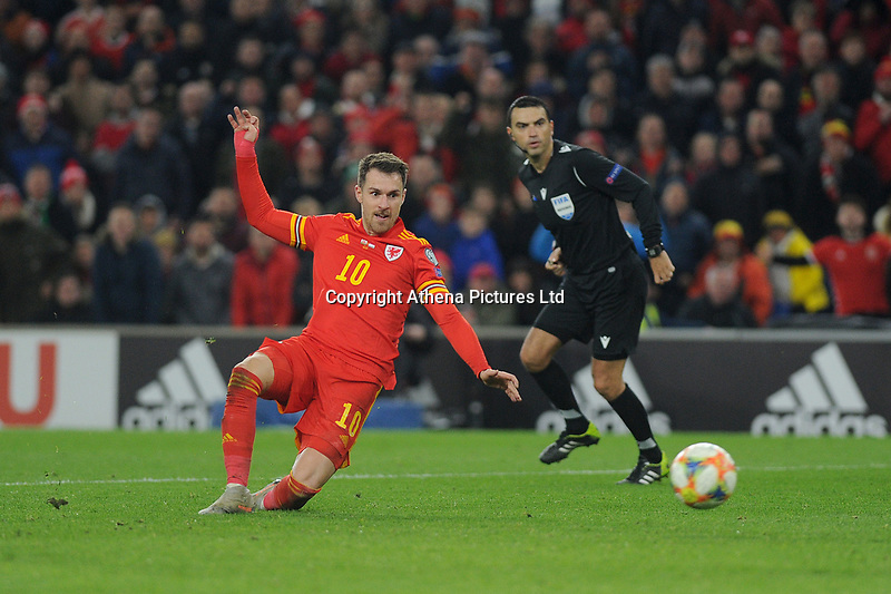 Aaron Ramsey of Wales has a shot during the UEFA Euro 2020 Group E Qualifier match between Wales and Hungary at the Cardiff City Stadium in Cardiff, Wales, UK. Tuesday 19th November 2019