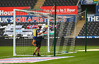 18th July 2020; Liberty Stadium, Swansea, Glamorgan, Wales; English Football League Championship, Swansea City versus Bristol City; Groundstaff spray the goals during the drinks break