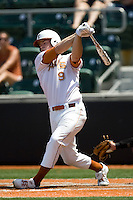 First baseman Tant Shepherd #9 of the Texas Longhorns swings against Texas Tech on April 17, 2011 at UFCU Disch-Falk Field in Austin, Texas. (Photo by Andrew Woolley / Four Seam Images)