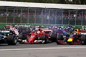 June 11th 2017, Circuit Gilles Villeneuve, Montreal Quebec, Canada; Formula One Grand Prix, Race Day. #5 Sebastian Vettel (GER, Scuderia Ferrari), #3 Daniel Ricciardo (AUS, Red Bull Racing)