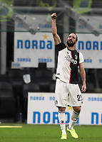 Calcio, Serie A: Inter Milano - Juventus, Giuseppe Meazza stadium, October 6 2019.<br /> Juventus' Gonzalo Higuain celebrates after winning 2-1  the Italian Serie A football match between Inter and Juventus at Giuseppe Meazza (San Siro) stadium, October 6, 2019.<br /> UPDATE IMAGES PRESS/Isabella Bonotto