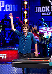 Jake Balsiger enters the final table area.