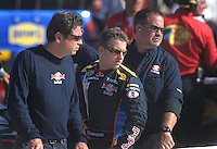 Mar 30, 2007; Martinsville, VA, USA; Nascar Nextel Cup Series driver A.J. Allmendinger (84) with his crew during qualifying for the Goody's Cool Orange 500 at Martinsville Speedway. Martinsville marks the second race for the new car of tomorrow. Mandatory Credit: Mark J. Rebilas