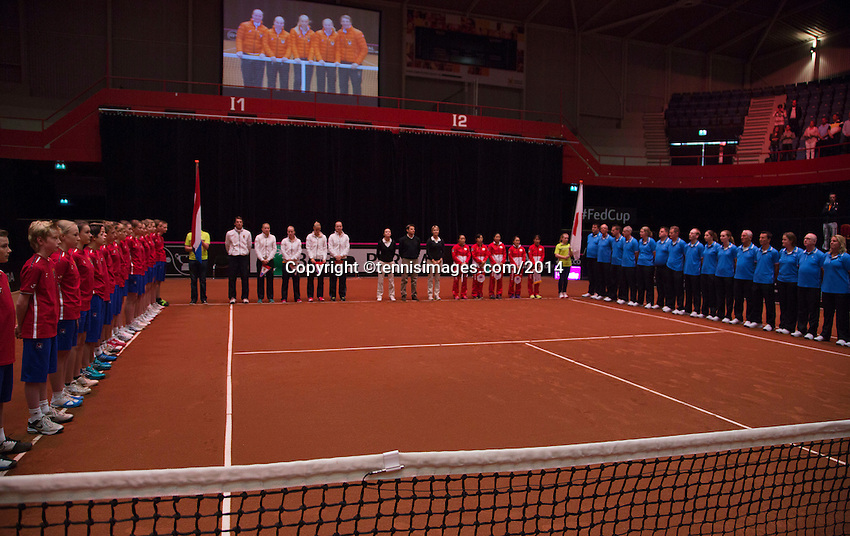 The Netherlands, Den Bosch, 16.04.2014. Fed Cup Netherlands-Japan, Official Opening Ceremony, both teams<br /> Photo:Tennisimages/Henk Koster