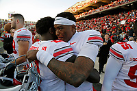 Ohio State Buckeyes quarterback Dwayne Haskins Jr. (7) hugs Ohio State Buckeyes wide receiver Parris Campbell Jr. (21) after beating Maryland Terrapins 52-51 in overtime during their game at Capital One Field at Maryland Stadium in College Park, Maryland on November 17, 2018. [Kyle Robertson/Dispatch]