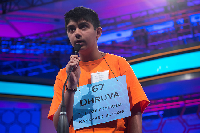 Speller 67 Dhruva Tapan Mehta competes in the preliminary rounds of the Scripps National Spelling Bee at the Gaylord National Resort and Convention Center in National Habor, Md., on Wednesday,  May 30, 2012. Photo by Bill Clark