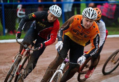 31 AUG 2015 - IPSWICH, GBR - Ben Mould (right) of Wednesfield leads the field during a heat at the British Cycle Speedway Championships at Whitton Sports and Community Centre in Ipswich, Suffolk, Great Britain (PHOTO COPYRIGHT © 2015 NIGEL FARROW, ALL RIGHTS RESERVED)