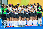 Argentina team during their national anthem before Argentina vs Great Britain in women's Pool B game  at the Rio 2016 Olympics at the Olympic Hockey Centre in Rio de Janeiro, Brazil.