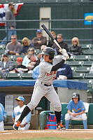 Frederick Keys outfielder Jimmy Bosco (15) at bat during a game against the Myrtle Beach Pelicans at Ticketreturn.com Field at Pelicans Ballpark on April 10, 2016 in Myrtle Beach, South Carolina. Myrtle Beach defeated Frederick 7-5. (Robert Gurganus/Four Seam Images)