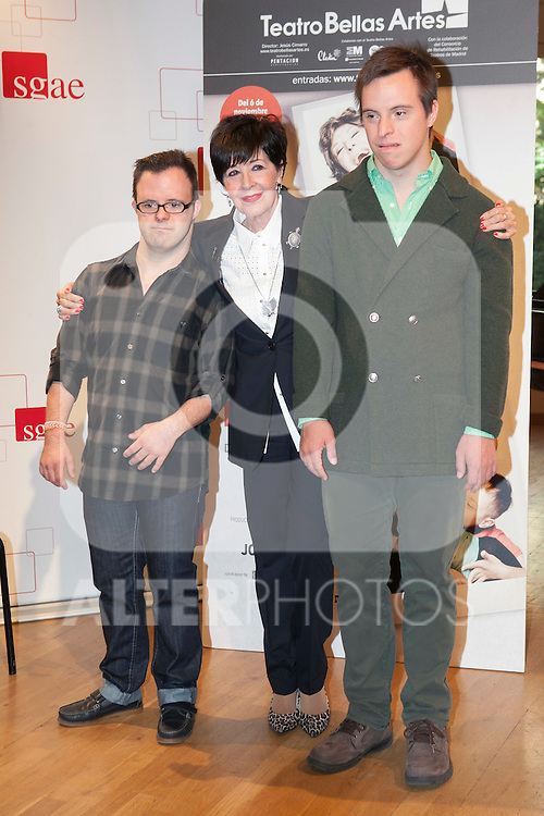 Hugo Aritmendiz (L), Rodrigo Raimondi and Concha Velasco during the `Olivia y Eugenio´ theater play presentation in Madrid, Spain. October 21, 2014. (ALTERPHOTOS/Victor Blanco)