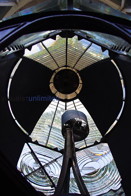 Lenses and reflectors of restored 1860 historic Jupiter Inlet Lighthouse, Jupiter, Florida, Atlantic Ocean.