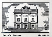 Parry's Theatre, Glasgow, a copy of one of the images gifted by actor Tony Roper to the Britannia Panoptican in Glasgow, after he presented the long-lost variety music hall with some ink drawings of old Glasgow theatres. The framed collection was given to Roper by the family of Ricki Fulton - picture by Donald MacLeod 05.03.09