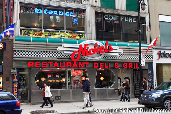 Nickels restaurant deli & grill  , Ste-Catherine street in downtown Montreal, Quebec