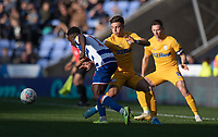 Preston North End's Josh Harrop (centre) battles for possession with Reading's Andy Yiadom (left) <br /> <br /> Photographer David Horton/CameraSport<br /> <br /> The EFL Sky Bet Championship - Reading v Preston North End - Saturday 19th October 2019 - Madejski Stadium - Reading<br /> <br /> World Copyright © 2019 CameraSport. All rights reserved. 43 Linden Ave. Countesthorpe. Leicester. England. LE8 5PG - Tel: +44 (0) 116 277 4147 - admin@camerasport.com - www.camerasport.com