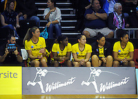 The Pulse replacement bench watches the ANZ Netball Championship match between the Central Pulse and NSW Swifts at TSB Bank Arena, Wellington, New Zealand on Saturday, 25 April 2015. Photo: Dave Lintott / lintottphoto.co.nz