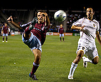 Colorado Rapids midfielder Nick LaBrocca (22) crosses a ball over the middle past LA Galaxy midfielder Peter Vagenas (8). The Colorado Rapids defeated the LA Galaxy 1-0 during the preliminary rounds of the 2008 US Open Cup at Home Depot Center stadium in Carson, Calif., on Tuesday, May 27, 2008.