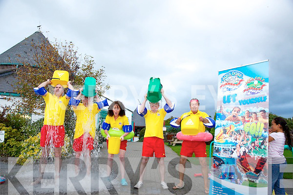 Aqua Dome Staff take up the Ice Bucket Challenge Pictured Mark Teahan, Sean McCord, Mags O'Sullivan, Noel McCord,  Damien Greer