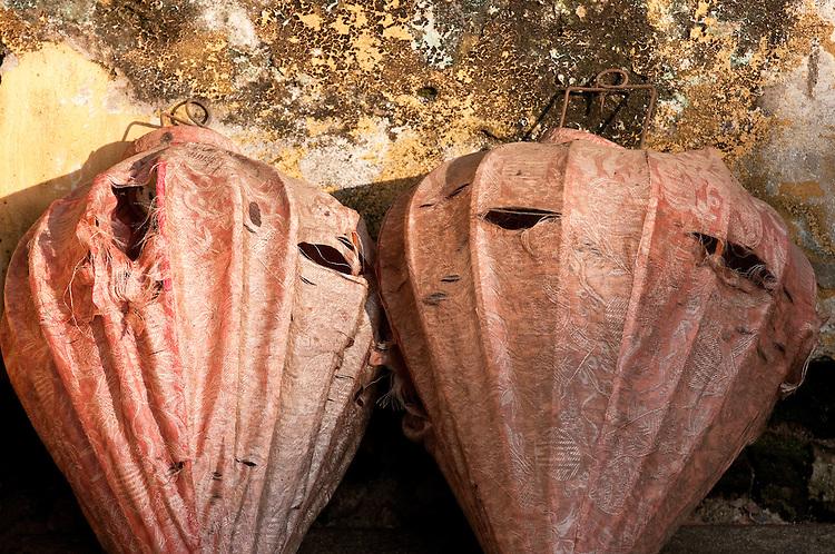 Old Silk Lanterns - Old silk lanterns against a weathered wall, Hoi An, Vietnam
