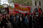 May Day march and rally at Trafalgar Square, May 1st, 2010. Workers Revolutionary party Young socialists banner