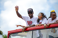 Udonis Haslem at Miami Heat NBA 2013 Championship parade, Biscayne Boulevard, American Airlines Arena, Miami, FL, June 24, 2013
