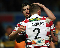 PICTURE BY VAUGHN RIDLEY/SWPIX.COM - Rugby League - Super League - Leeds Rhinos v Wigan Warriors - Headingley, Leeds, England - 01/06/12 - Wigan's Josh Charnley scores a try and celebrates with Darrell Goulding.