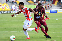 IBAGUÉ-COLOMBIA , 27 -01-2019 . Luis Díaz (Izq.) jugador del Atlético Junior.Acción de juego entre los equipos Deportes Tolima  ante el Atlético Junior  durante partido por  la final de la Superliga Liga Águila  2019 jugado en el estadio Manuel Murillo Toro de la ciudad de Ibagué./ Luis Diaz (L) player of Atletico Junior.Action game betwen  Deportes Tolima and  Atletico Junior teams during the match for the final of Superliga  Aguila 2019 played at Manuel Murillo Toro  stadium in Ibague city. Photo: VizzorImage/ Cristian Álvarez/ Contribuidor