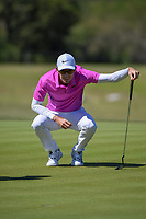 Dylan Frittelli (RSA) lines up his putt on 2 during Round 4 of the Valero Texas Open, AT&amp;T Oaks Course, TPC San Antonio, San Antonio, Texas, USA. 4/22/2018.<br /> Picture: Golffile | Ken Murray<br /> <br /> <br /> All photo usage must carry mandatory copyright credit (&copy; Golffile | Ken Murray)