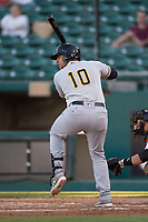 Salt Lake Bees catcher Jose Briceno (10) at bat during a Pacific Coast League game against the Fresno Grizzlies at Chukchansi Park on May 14, 2018 in Fresno, California. Fresno defeated Salt Lake 4-3. (Zachary Lucy/Four Seam Images)