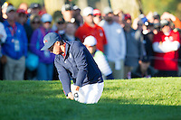 Ricky Fowler (Team USA) plays out of a bunker on the 5th during the Saturday morning Foursomes at the Ryder Cup, Hazeltine national Golf Club, Chaska, Minnesota, USA.  01/10/2016<br /> Picture: Golffile | Fran Caffrey<br /> <br /> <br /> All photo usage must carry mandatory copyright credit (&copy; Golffile | Fran Caffrey)