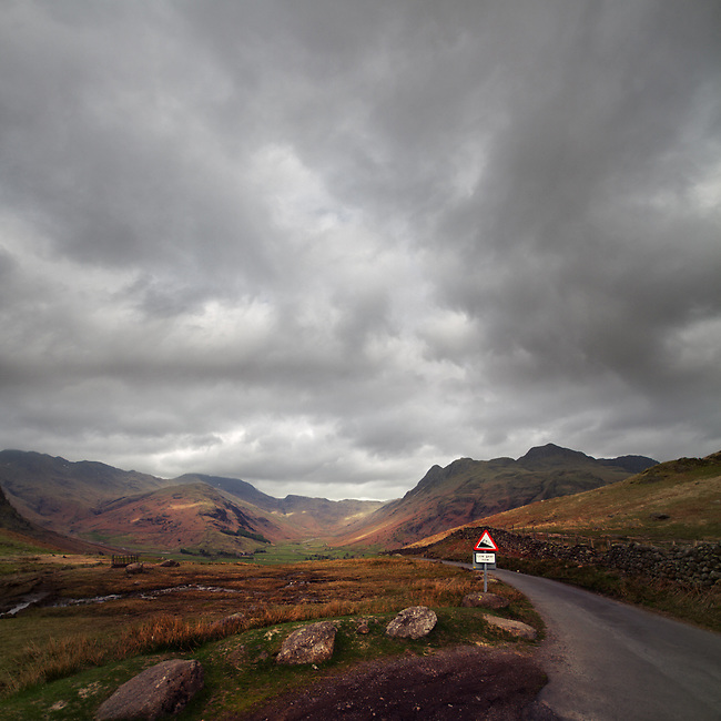 Low gear now, steep road ahead, Lake District, Cumbria, UK