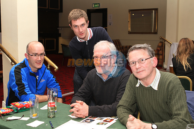 Anthony Carolan, John McKeown, James Hussey and Paul Hussey at the Table Quiz in the Boyne Valley Hotel in aid of the Niall Mellon Township Trust...(Photo credit should read Jenny Matthews www.newsfile.ie)....This Picture has been sent you under the conditions enclosed by:.Newsfile Ltd..The Studio,.Millmount Abbey,.Drogheda,.Co Meath..Ireland..Tel: +353(0)41-9871240.Fax: +353(0)41-9871260.GSM: +353(0)86-2500958.email: pictures@newsfile.ie.www.newsfile.ie.