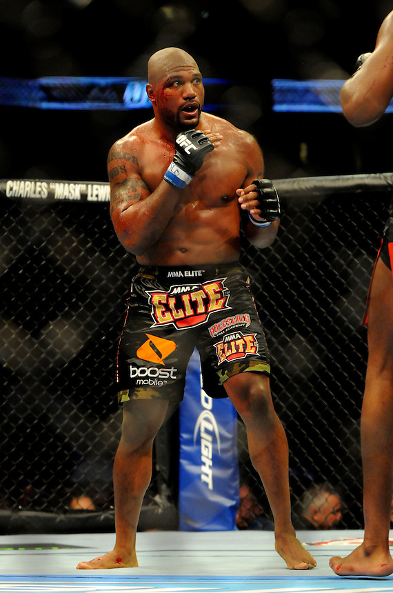 "24 SEPTEMBER 2011:  Quinton ""Rampage"" Jackson bleeds from the head during the bout against Jon ""Bones"" Jones   during UFC 135 at the Pepsi Center in Denver, Colorado. *****For Editorial Use Only*****"