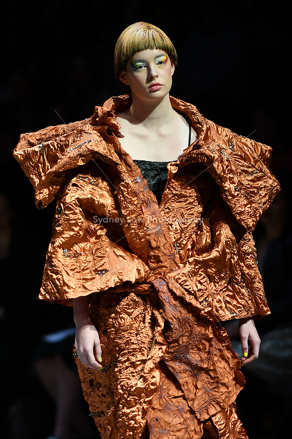 7 September 2017, Melbourne - Model parades design by student Ngoc Truong during the Melbourne Fashion Week in Melbourne, Australia. (Photo Sydney Low / asteriskimages.com)