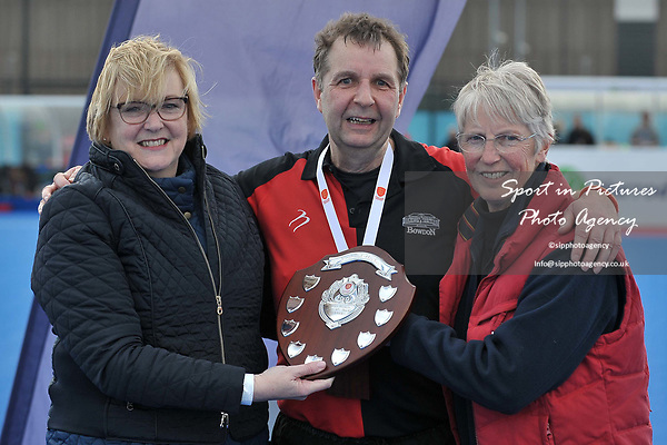 THOMPSON Brian (Captain, Bowdon) is presented with the trophy. Bournemouth v Bowdon (Men's Over 50's Shield Final). Pitch 2. Men's Knockout Finals 2017. Lee Valley Hockey and Tennis Centre. London. UK. 29/04/2017. ~ MANDATORY CREDIT Garry Bowden/SIPPA - NO UNAUTHORISED USE - +44 7837 394578