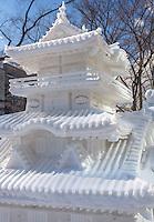 Sapporo, Japan<br /> Snow carved sculpture of a temple in Odori Park, Sapporo Snow Festival
