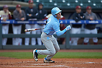 Logan Warmoth (7) of the North Carolina Tar Heels starts down the first base line against the Boston College Eagles in Game Five of the 2017 ACC Baseball Championship at Louisville Slugger Field on May 25, 2017 in Louisville, Kentucky. The Tar Heels defeated the Eagles 10-0 in a game called after 7 innings by the Mercy Rule. (Brian Westerholt/Four Seam Images)