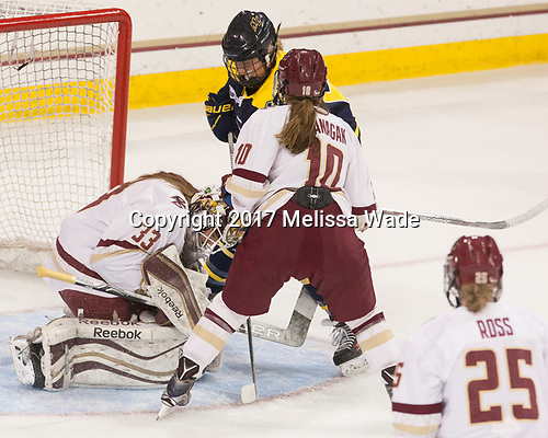 Katie Burt (BC - 33), Paige Voight (Merrimack - 6), Kali Flanagan (BC - 10) - The number one seeded Boston College Eagles defeated the eight seeded Merrimack College Warriors 1-0 to sweep their Hockey East quarterfinal series on Friday, February 24, 2017, at Kelley Rink in Conte Forum in Chestnut Hill, Massachusetts.The number one seeded Boston College Eagles defeated the eight seeded Merrimack College Warriors 1-0 to sweep their Hockey East quarterfinal series on Friday, February 24, 2017, at Kelley Rink in Conte Forum in Chestnut Hill, Massachusetts.