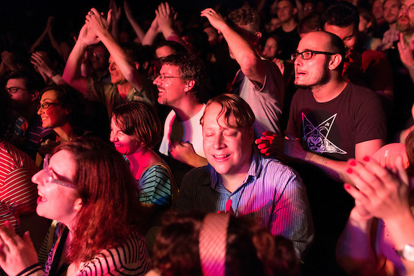 July 24, 2014. Carrboro, North Carolina.<br /> Crowd for SUPERCHUNK.<br />  Day two of the MERGE 25 festival, celebrating the 25 year history of the independent record label.