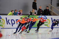 SCHAATSEN: BERLIJN: Sportforum, Essent ISU World Cup Speed Skating | The Final, 11-03-2012, Mass Start Ladies, Foske Tamar van der Wal (NED), Claudia Pechstein (GER), Mariska Huisman (NED), Anna Rokita (AUT),, ©foto Martin de Jong