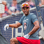 15 August 2017: Washington Nationals outfielder Michael Taylor awaits his turn in the batting cage prior to facing the Los Angeles Angels at Nationals Park in Washington, DC. The Nationals defeated the Angels 3-1 in the first game of their 2-game series. Mandatory Credit: Ed Wolfstein Photo *** RAW (NEF) Image File Available ***