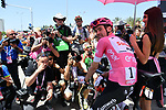 Race leader Maglia Rosa Tom Dumoulin (NED) Team Sunweb lined up for the start of Stage 2 of the 101st edition of the Giro d'Italia 2018 running 167km from Haifa to Tel Aviv, Israel. 5th May 2018.<br /> Picture: LaPresse/Gian Mattia D'Alberto | Cyclefile<br /> <br /> <br /> All photos usage must carry mandatory copyright credit (&copy; Cyclefile | LaPresse/Gian Mattia D'Alberto)