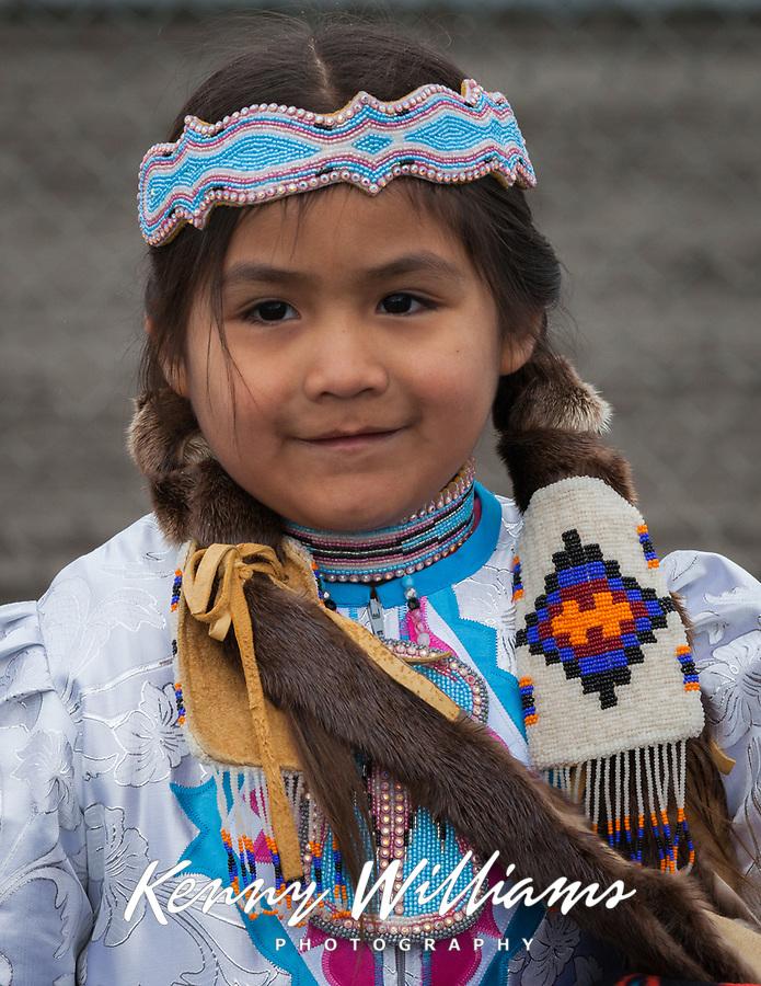 Cute Muckleshoot Native American Girl, Auburn, Washington, USA.